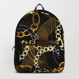 Seamless pattern with belts greek meanders chains and watercolor effect Backpack