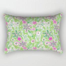 Fun Preppy Whimsical Giraffe Floral Print / Pattern Rectangular Pillow