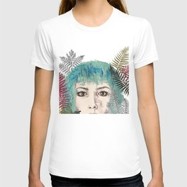Blue-haired girl with leaves T-shirt