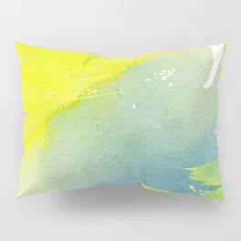 Modern hand painted yellow green blue watercolor brushstrokes Pillow Sham