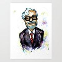 hayao miyazaki Art Prints featuring Hayao Miyazaki by Grant Hunter