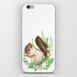 squirrel with flowers iPhone Skin
