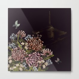 Chrysanthemums, butterflies and Glittery Red Temple Chinoiserie Metal Print
