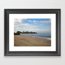 seasand on the beach, sea and blue sky Framed Art Print