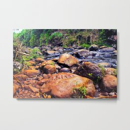 river in the forest with green tree and rock and stone Metal Print
