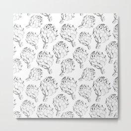 Artichokes. Monochrome black and white pattern. Sketch style vegetables artichokes on a white backgr Metal Print
