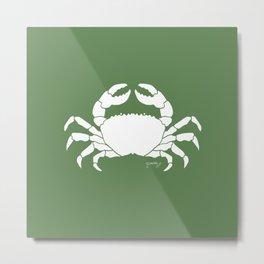 Crab Green Background Metal Print