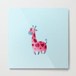 Pink & Blue Pastel Love Giraffe Metal Print