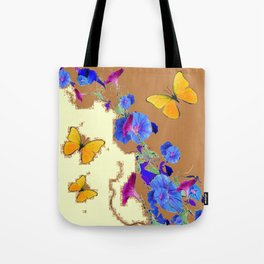 Coffee & Cream Blue Flowers butterfly Art Tote Bag