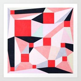Red Squares Art Print