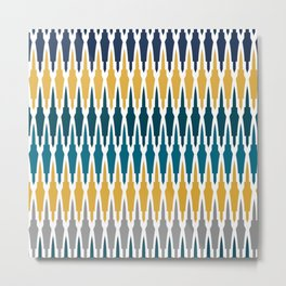 Boho, Geometric Pattern, Blue, Teal, Yellow and Gray Metal Print
