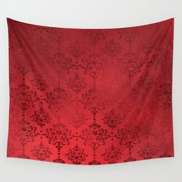 Elegant Red Grunge Damask Wall Tapestry