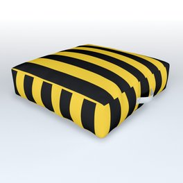 Yellow and Black Honey Bee Vertical Beach Hut Stripes Outdoor Floor Cushion