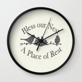 Bless our Nest A Place of Rest Birds on a Branch Shabby Chic Wall Clock