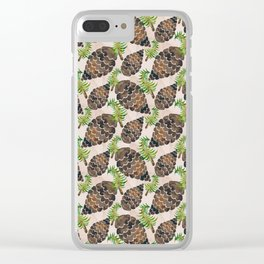 Watercolor Pine Cone Pattern Clear iPhone Case