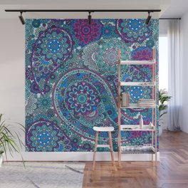 Paisley Patterns in Blues, Pinks, and Greens Wall Mural