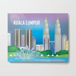 Kuala Lumpur, Malaysia - Skyline Illustration by Loose Petals Metal Print