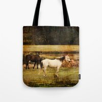 horses Tote Bags featuring Horses by Christy Leigh