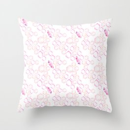 Pastel Pink Lavender Watercolor Geometrical Shapes Pattern Throw Pillow