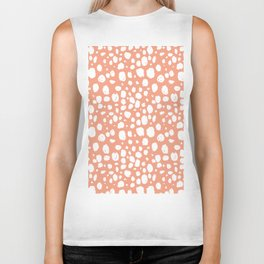 Painterly Dots in Peach and White Biker Tank