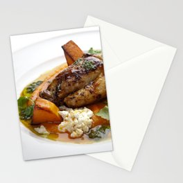 Baby chicken with pumpkin,cottage cheese and coriander pesto Stationery Cards