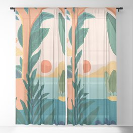 Tropical Evening Sheer Curtain