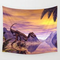 skeleton Wall Tapestries featuring Dinosaur Skeleton  by nicky2342