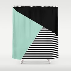 Mint Color Block with Stripes // www.penncilmeinstationery.com Shower Curtain