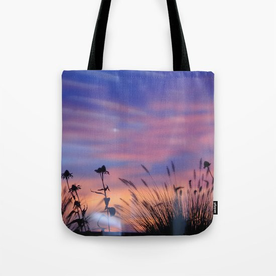 LOOK OUTSIDE - Flowers & Sunset #1 #art #society6 Tote Bag