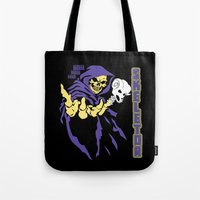 skeletor Tote Bags featuring Skeletor  by Buby87