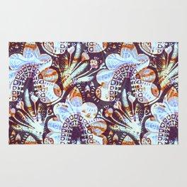 Arabesque Plant Jungle in Lavender, Orange and Purple Ethnic Pattern Illustration Rug