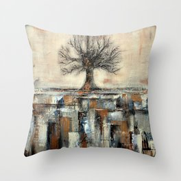 Tree in Brown and Gold Texture Landscape Throw Pillow