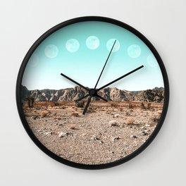 Desert Daylight Moon Ridge // Summer Lunar Landscape Teal Sky Red Rock Canyon Rock Climbing Photo Wall Clock