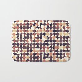 geometric square and circle pattern abstract in brown Bath Mat