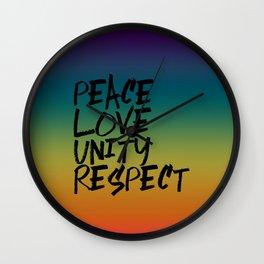 P.L.U.R. Peace Love Unity Respect Wall Clock