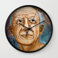 pablo picasso Wall Clocks featuring Pablo Picasso by Michael Cu Fua