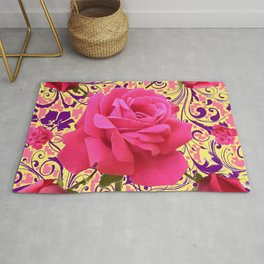 PINK ROSE FLOWERS ON  PINK & YELLOW FILIGREE Rug