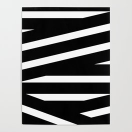 Abstract black & white Lines Stripes Pattern - Mix and Match with Simplicity of Life Poster