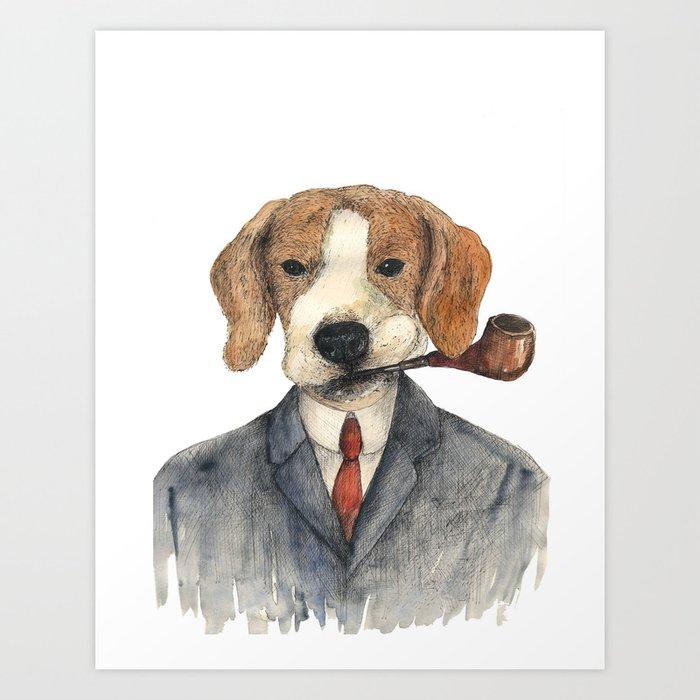Monsieur Beagle Art Print