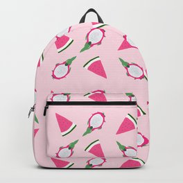 Summer Pink Watermelon and Dragon Fruits Pattern Backpack