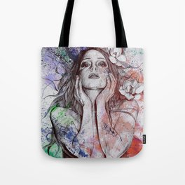 The Withering Spring: Wine (nude tattooed girl with flowers) Tote Bag