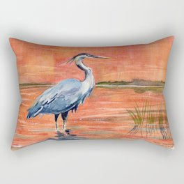 Great Blue Heron in Marsh Rectangular Pillow