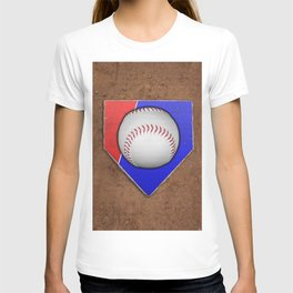 Baseball Base in Red and Blue with Sand T-shirt