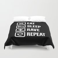 rave Duvet Covers featuring Eat sleep rave repeat by Laundry Factory