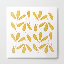 Retro Yellow Leaves Metal Print