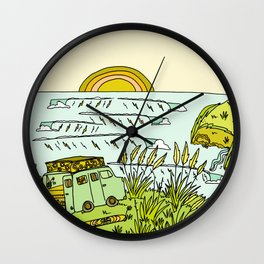 home is where you park it // wandering in new zealand // retro surf art by surfy birdy Wall Clock