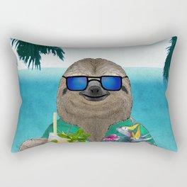 Sloth on summer holidays drinking a mojito Rectangular Pillow