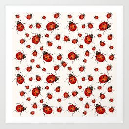 LOVING RED LADY BUGS  ON WHITE COLOR DESIGN ART Art Print