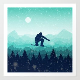 Snowboard Skyline II Art Print