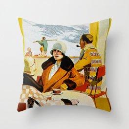 Vintage Wengen Switzerland Travel Throw Pillow